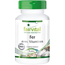 Fer avec vitamines - vitamine C, biotine et vitamine B12 - 90 gélules végétariennes