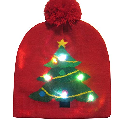 WWricotta Colorful Merry Christmas LED Light-up Knit Hat Beanie Hairball Warm Cap Gifts