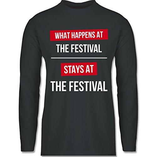 Shirtracer Festival - What Happens On The Festival Stays At The Festival - Herren Langarmshirt Dunkelgrau