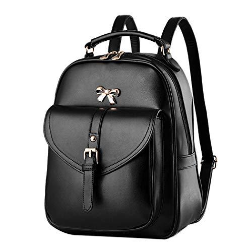 Deerword donna borse a zainetto borse a mano borse a tracolla zaino della scuola borsa del portatile pelle nero v1