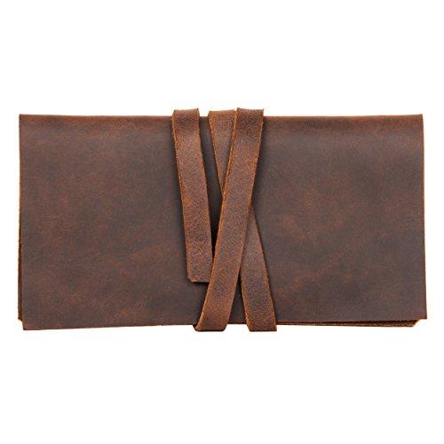 hecho. Tabakbeutel Rodrigo (Dark Wood, Blättchenfach: 2X kurz) inkl. Gizeh Paket & Geschenkverpackung - Handgefertigt, Leder & Fair-Trade (Tabaktasche Tabaketui) - Handgefertigtes Leder-rucksäcke