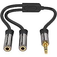KabelDirekt Y Adapter 1x 3.5mm Stecker auf 2x 3.5mm Buchse - PRO Series