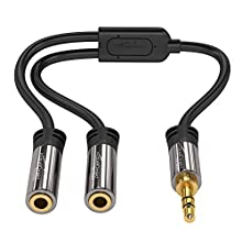 KabelDirekt 3.5mm Y Splitter 1x 3.5mm male to 2x 3.5mm female - PRO Series