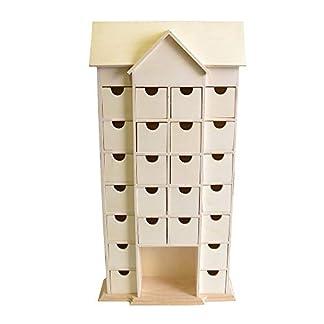 Artemio 25 x 51 x 9 cm Casa de Madera Calendario de Adviento con cajones Decorar, Beige
