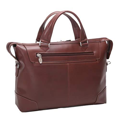 Slim Laptop Briefcase, Leather, Small, Brown - Arcadia   Mcklein - 88764