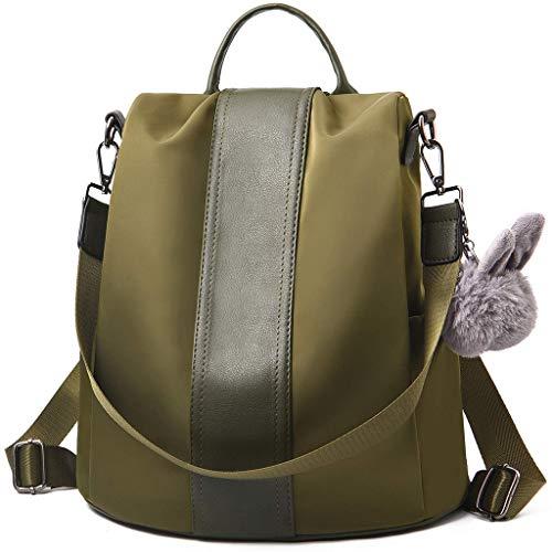 Skang Damen Rucksack Handtaschen Nylon Daypack Umhängetasche Schulrucksack Mit Kaninchen Pelz Kugel Anti Diebstahl Tasche Für Schule Reise Arbeit (Einheitsgröße,Armeegrün)