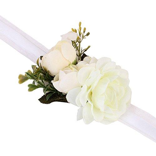 Mädchen Brautjungfer Hochzeit Handgelenk Corsage Party Handgelenk Blume Corsage Armband, weiß, Einheitsgröße (Blumen-armband)