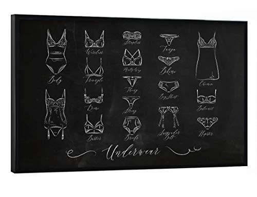 artboxONE Poster mit schwarzem Rahmen 30x20 cm Fashion Underwear Classic Chalk - Bild Bra icon Underwear - White Classic Thong