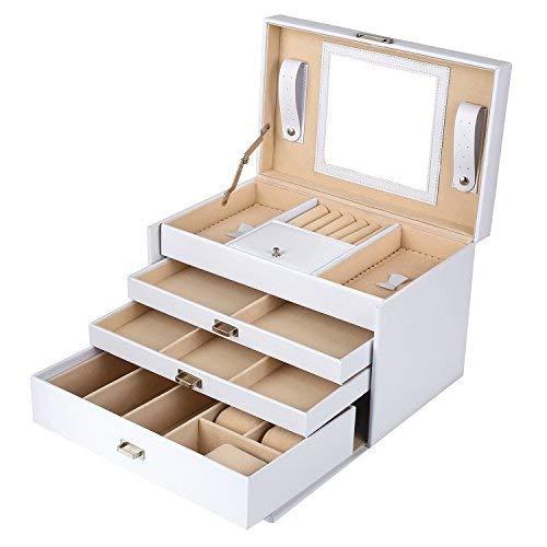 MVPower Schmuckkasten Kosmetikkoffer Multifunktionale Schmuckschatulle mit 3 Schubladen abschließbar mit Spiegel (Weiß)