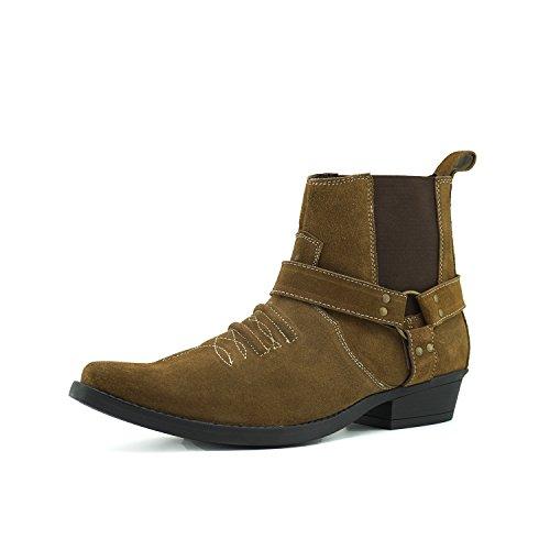 Kick Footwear Herren Cowboy-Western Knöchel Wildleder Stiefel Ziehen Sie auf Kubanische Ferse - UK 12/EU 46, Tan Suede (Wildleder Herren Cowboy-stiefel)