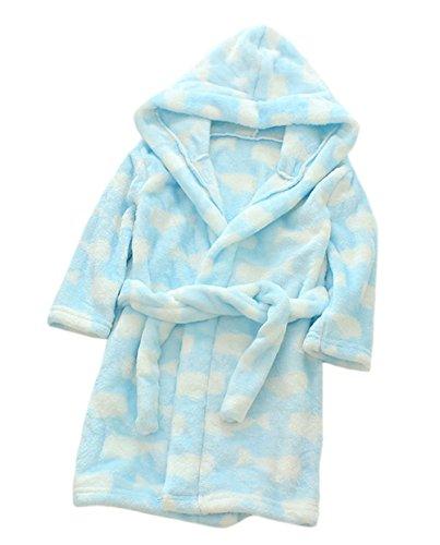 nder Kinder Kapuzen Bademantel Jungen Mädchen Morgenmantel Cartoon Tier Pyjamas Flanell-Nachtwäsche Größe 130 Hellblau Wal ()