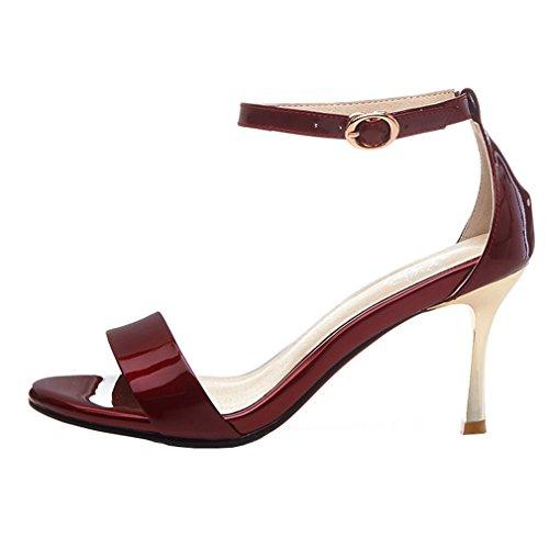 ENMAYER Womens Lackleder Knöchelriemen Blockabsatz Soffen Zehe Plateau Sandalen Büro Wölbungen Mode Schuhe Rotwein#2