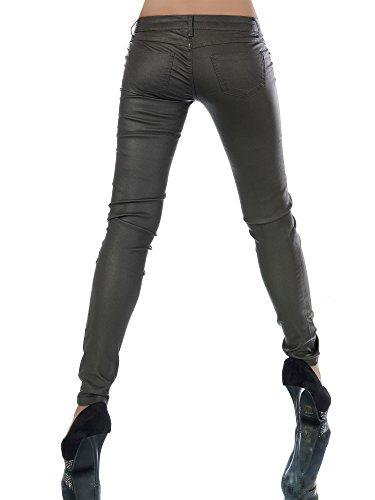 L521 Damen Jeans Hose Hüfthose Damenjeans Hüftjeans Röhrenjeans Leder-Optik Olivgrün