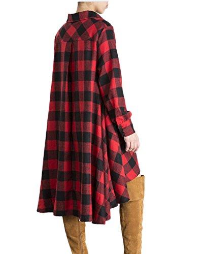 Auxo Femmes Automne Long Chemsie à Carreaux Lâche Tunique Bouton Robe Blouse Tops Hauts Rouge
