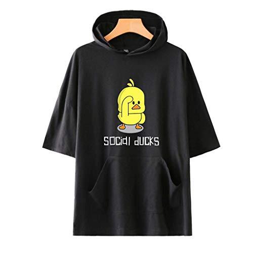 LILICAT Damen Mode Freizeit Rundhals T-Shirt Lässig Sommer Tops Täglichen Cartoon Print Kurzarm Hoodie T-Shirt Taschen Bluse Lose Oberteile Loose Fit Tank Top -