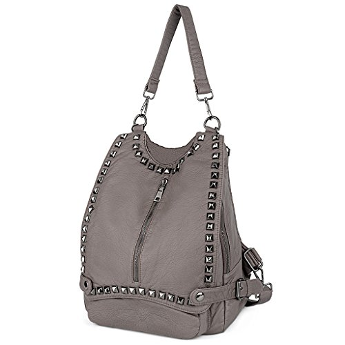 UTO Damen Handtasche PU Leder Backpack Purse Rivet Studded PU Schultertasche