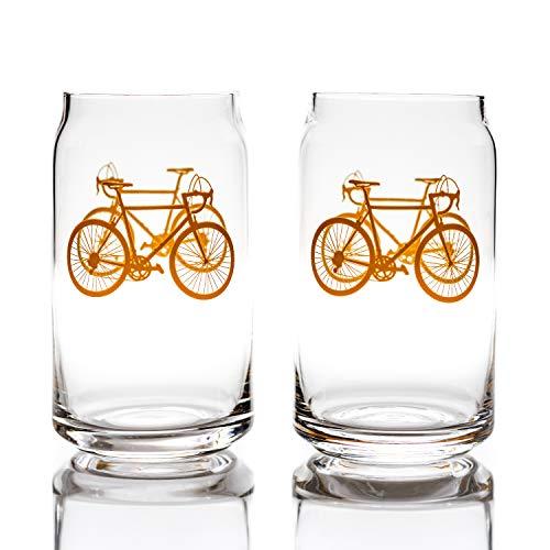 Fahrrad Gläser 2er Set Bierkrug Orange