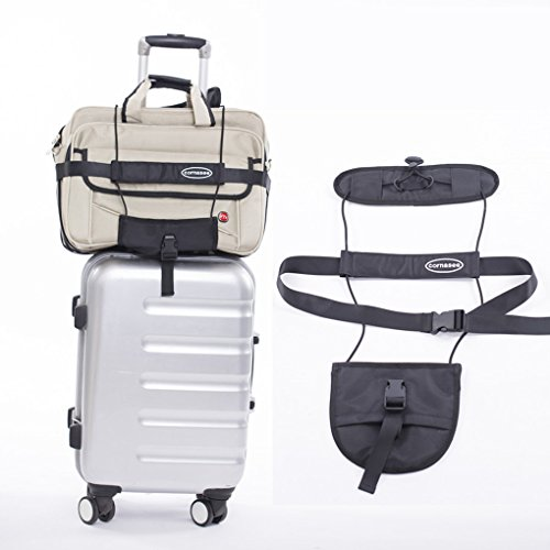 Cornasee correa de equipaje cinturón de paño de Oxford ajustable con mango de bloqueo para carrito de maleta equipaje, negro