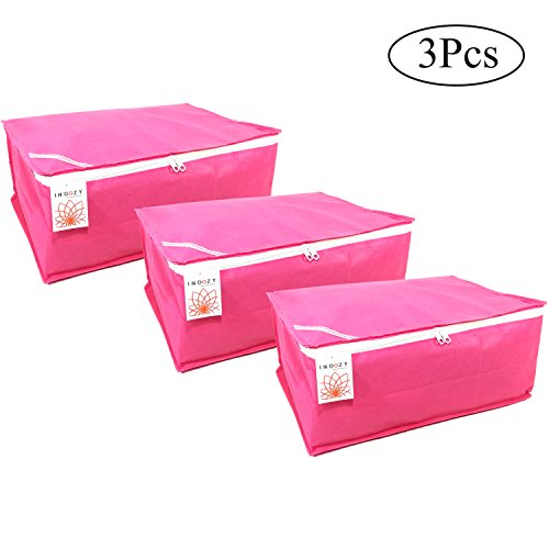 Saree Cover Bags Plain Box Type Pink 3 pc set Non Woven fabric with Zip combo | Dustproof Durable water resistant single sari packing Bag |Easy Storage of sarees in Cupboard wardrobe |Travel organiser |Marriage wedding Gifting giveaway purpose sareecover by INDOZY PPBC-3