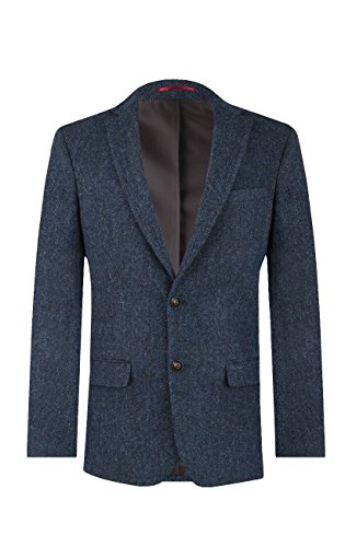 Veste de Costume Harris Tweed par Dobell Homme en Tweed Bleue à Chevrons - 2 Boutons, Bleu, 52 Court