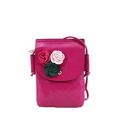 Haute für Diva S Damen NEU Kunstleder Textil Blumen Dekoration klein Umhängetasche Phone Tasche - Kaffee, Small Fuchsia