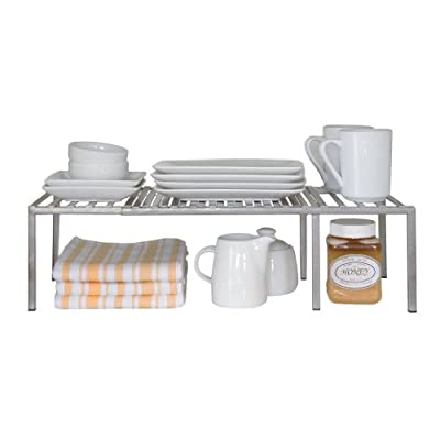 Seville Classics Expandable Kitchen Counter and Cabinet Shelf with Satin Pewter Finish, 40 - 76.2 x 23.9 x 14.5 cm, Silver