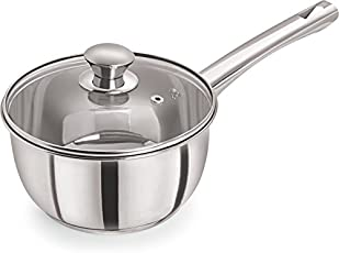 Pristine Induction Compatible Stainless Steel Sandwich Base Dlx Sauce Pan with Glass Lid