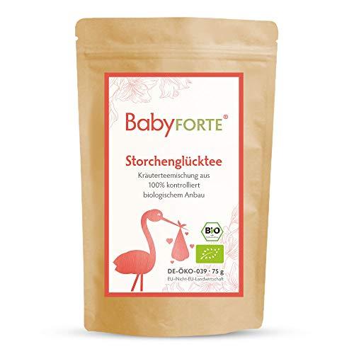 BabyFORTE Storchenglücktee/Hibbeltee - 75 g Bio Kräuterteemischung - Frauenmanteltee - Himbeerblättertee - Schafgarbe + Gojibeeren
