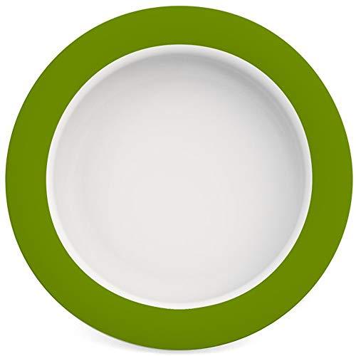 Ornamin Teller mit Kipp-Trick Ø 20 cm grün | Spezialteller mit Randerhöhung für selbstständiges Essen | Esshilfe, Melamin, Anti-Rutsch Teller, Tellerranderhöhung