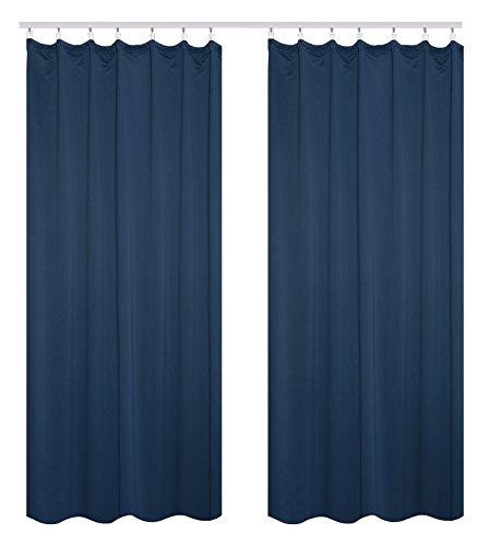 WOLTU VH5869dbl-2, 2er Set Gardinen Vorhang Blickdicht mit kräuselband für schiene, Leichte & weiche Verdunklungsvorhänge für Wohnzimmer Kinderzimmer Küche 135x225 cm Dunkelblau