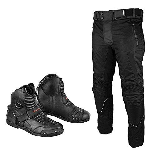REXTEK Marke Neue Motorrad Motorrad Wasserdichte Cordura Textilhose Hosen Rüstungen Mit Motorrad Leder Stiefel Schuhe Für Herren