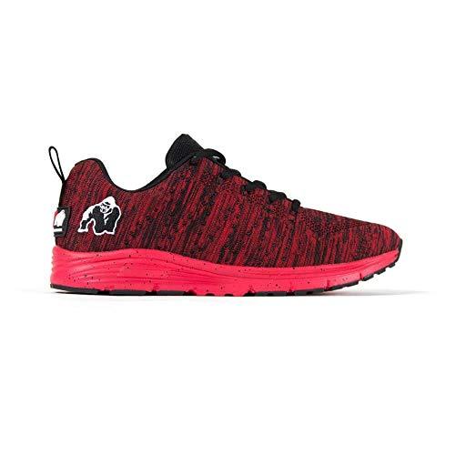Gorilla Wear Brooklyn Knitted Sneakers - Red/Black - rot/schwarz - Bodybuilding und Fitness Schuhe für Damen und Herren, EU 43