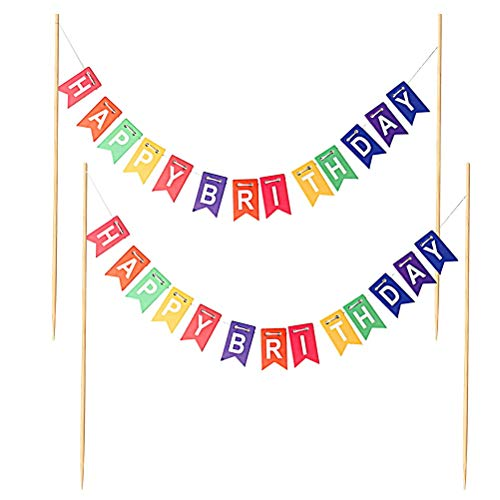 Nuosen 2 PCS Rainbow Birthday Cake Bunting Topper Banner For Girls Boys Party Decoration