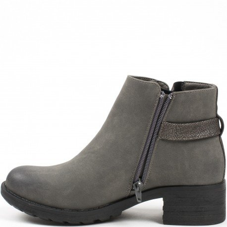 Ideal Shoes - Bottines style chelsea avec talon coloré Nataline Gris