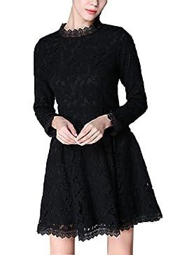 Vestido De Otoño Tamaño Grande El Vestido La Moda El Temperamento El Color Puro De Encaje Vestido