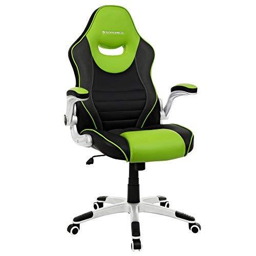 SONGMICS Bürostuhl, mit klappbaren Armlehnen, ergonomischer Drehstuhl, Tragfähigkeit 150 kg,schwarz grün OBG63BJ