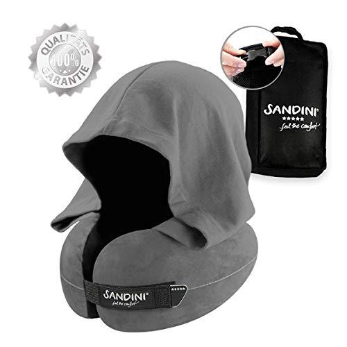 SANDINI TravelFix Regular Size - Premium Reisekissen mit Verschluss/Nackenkissen mit ergonomischer Stützfunktion - Auch mit Outlast Temperaturausgleich - Gratis Transporttasche mit Befestigungs-Clip
