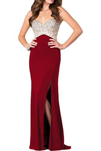 ivyd ressing robe haute qualité strass fente Spaghetti Prom Party robe robe du soir rouge bordeaux