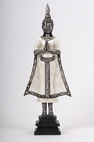BUDDHA stehend Deko Figur Asien Statue Skulptur 46cm-90cm groß Tempel Wächter Feng Shui Farbwahl (Weiß Silber 69cm)