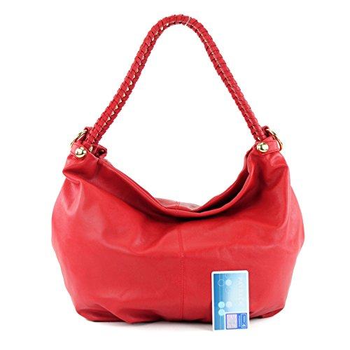 modamoda de - ital. Ledertasche Damentasche Schultertasche Damenhandtasche Nappaleder T62 Rot
