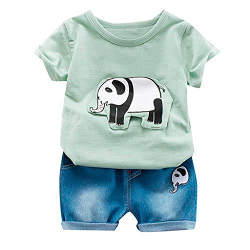 Pwtchenty baby Kleidung Set 2 Stück Cartoon Elefant Druck Tops+ Shorts Outfits Kleidung Set Overall Outfits Spielanzug Set