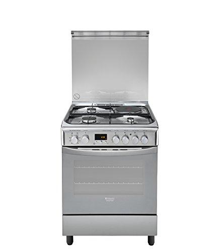 HOTPOINT-ARISTON-Cuisinière mixte-Nombre et type de foyers : 3 gaz + 1 electrique, Volume du four : 57 litres, Type de cuisson : multifonction, Type de nettoyage : pyrolyse, Classe énergétique : A, Couleur : inox