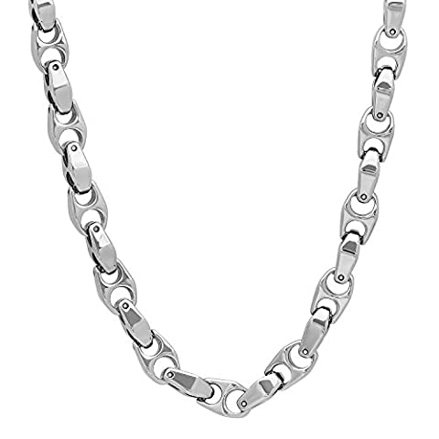 6mm Durable Tungsten Smoothly Angled Puffed Mariner Link Chain Necklace, 61 cm + Microfiber Jewelry Polishing Cloth