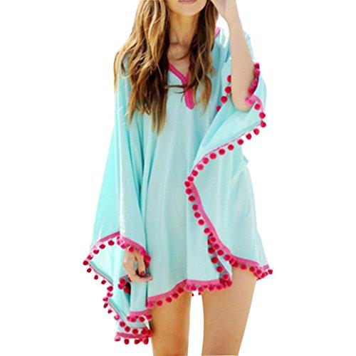Sunward Women's Summer Cover Up Bohemia Tassel Swimsuit Beachwear Bikini Dress Large Petite Blue