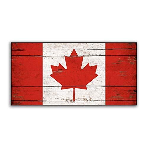 Zhaoshoping Kanada-Holzflagge Kanadische Flaggen aus Holz, handgefertigt, bedrucktes Schild, Dekorationsschilder, Holzschild, Handwerk, für Wohnzimmer Dekoration