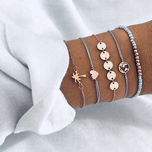 Armband,Vintage Armband Armband, Legierung Kette Armband, Einfache Mode Kokosnussbaum Runde Karte Liebe Perlen Saitenarmband Fünf-Stück-Anzug, Für Damenmode Kleidung Personalisierte Passenden Schmu
