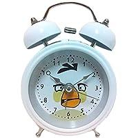 HAND ® 8815 Estremamente silenzioso fumetto dei bambini di Twin Bell metallo allarme Orologeria Angry Birds Style - Matilda - Bianco