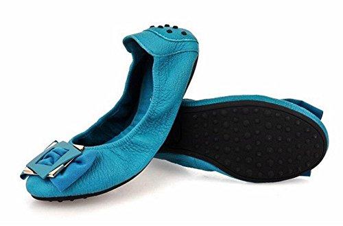 Bottomed blue Schuhe Ebenen Frauen Ballett flache der Ei flache Sommer lake neue Rolls Frauen Mund lederne Frauen Einzelne Schuhe SHINIK Schuhe Bogen v1qn0WW