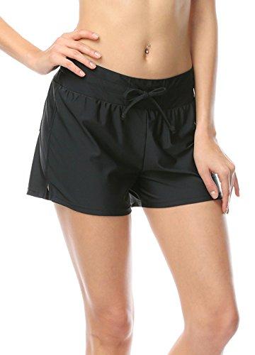 Damen UV Schutz Schwarz Wassersport Schwimmen Bikinihose Badeshorts Schwimmshorts Boardshorts XL