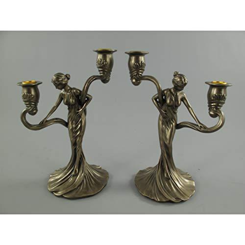 Gr Kerzenleuchter Frau Jugendstil bronzefarben 2-flammig Kerzenständer Kerzenhalter Frau schaut...